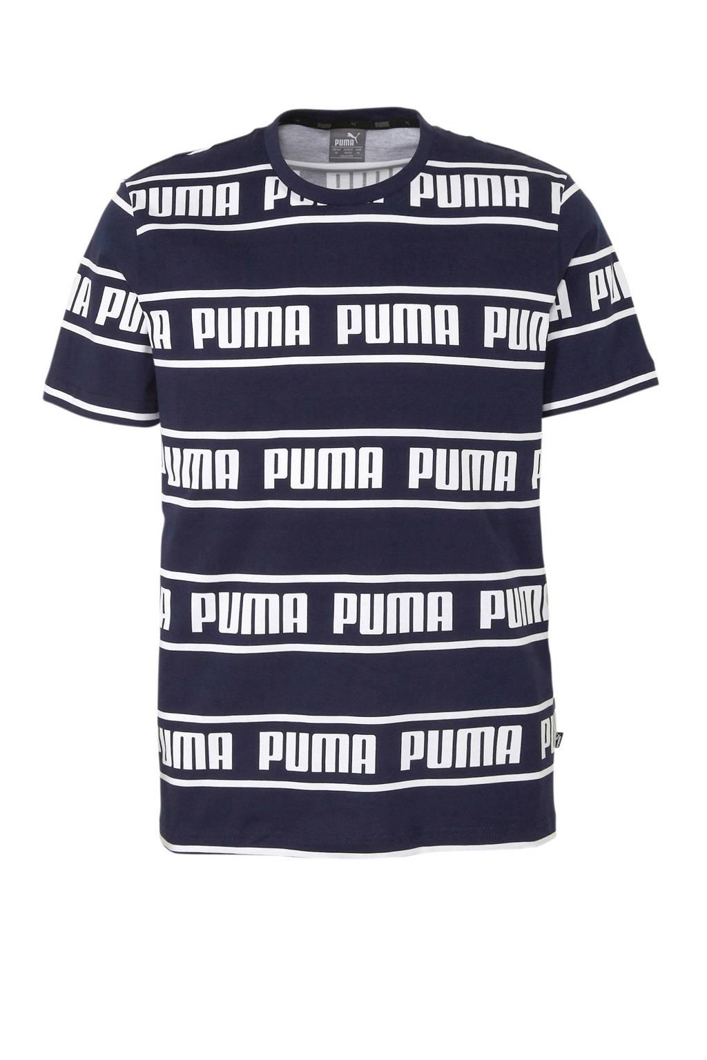 Puma   T-shirt donkerblauw/wit, Donkerblauw/wit