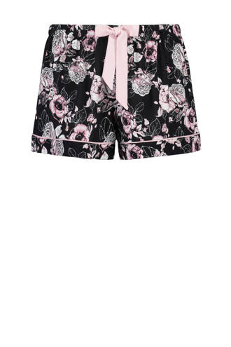 Elegant pyjamashort met all over bloemenprint zwart/roze