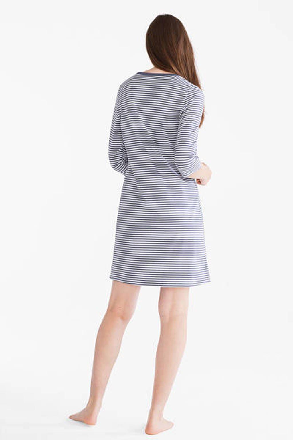 C&A gestreept nachthemd grijs, Grijs/wit