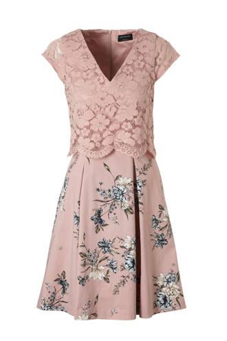 Yessica gebloemde jurk met kant oudroze