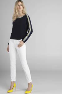 Claudia Sträter trui met contrastbies en contrastbies donkerblauw/geel/wit, Donkerblauw/geel/wit