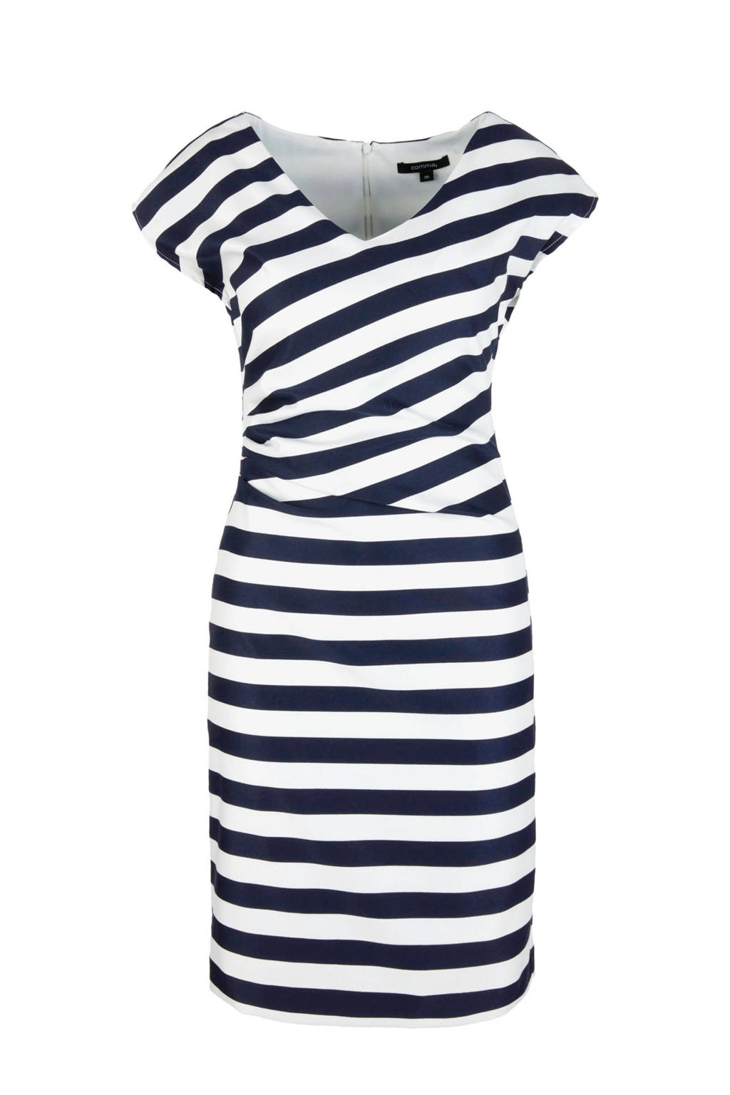 comma gestreepte jurk met plooidetail blauw/ecru, Blauw/ecru