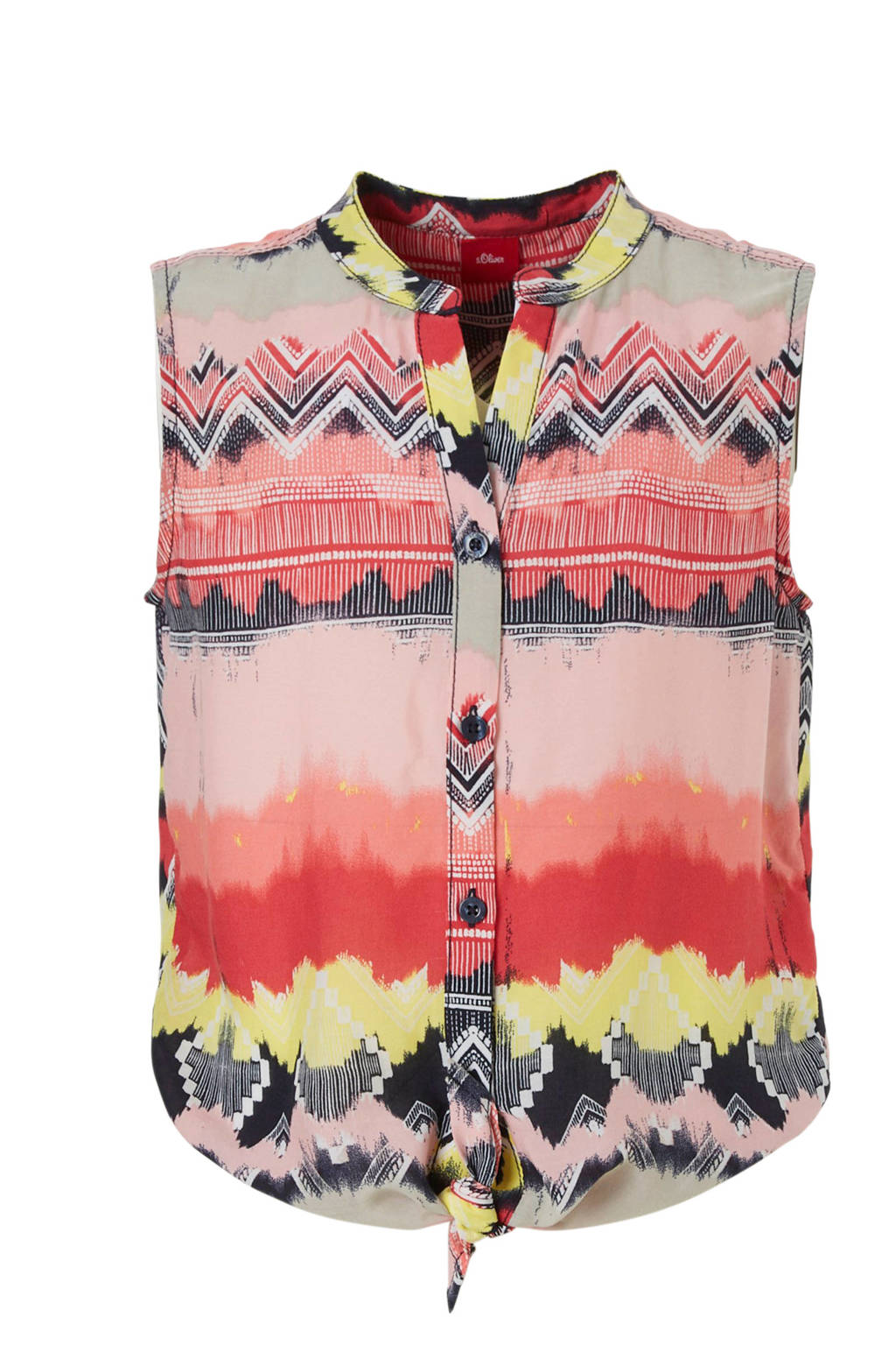 s.Oliver blouse met all over print, rood/blauw/geel