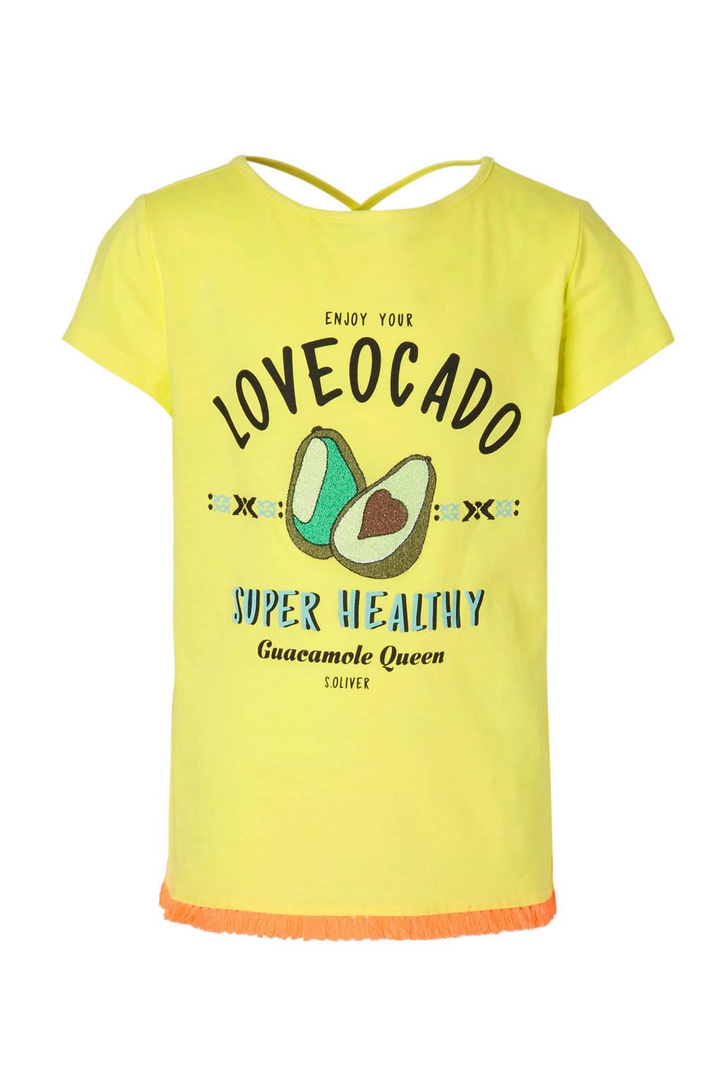 s.Oliver T-shirt met avocado's geel, Geel