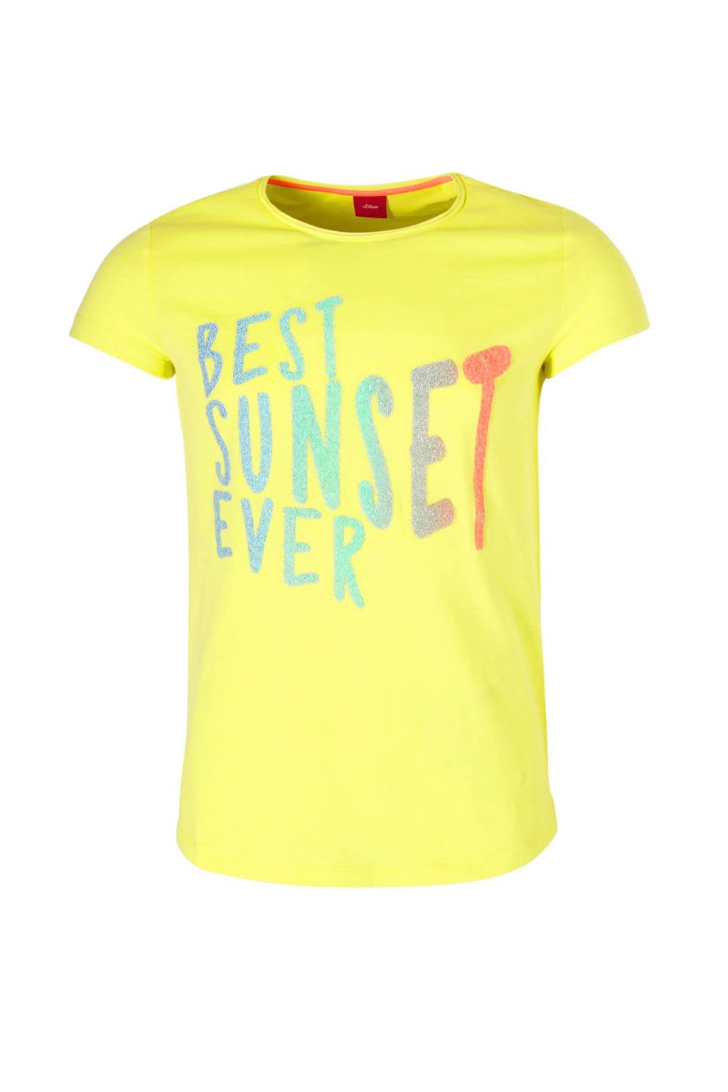 s.Oliver T-shirt met tekstopdruk lichtgeel, Lichtgeel