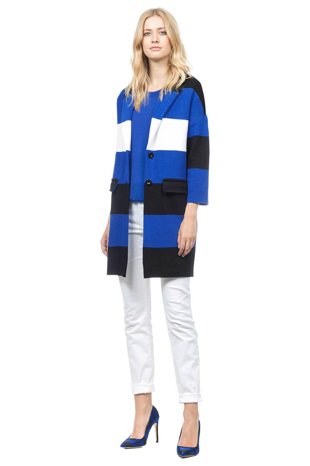 Claudia Sträter gestreepte jas blauw, Blauw/zwart/wit