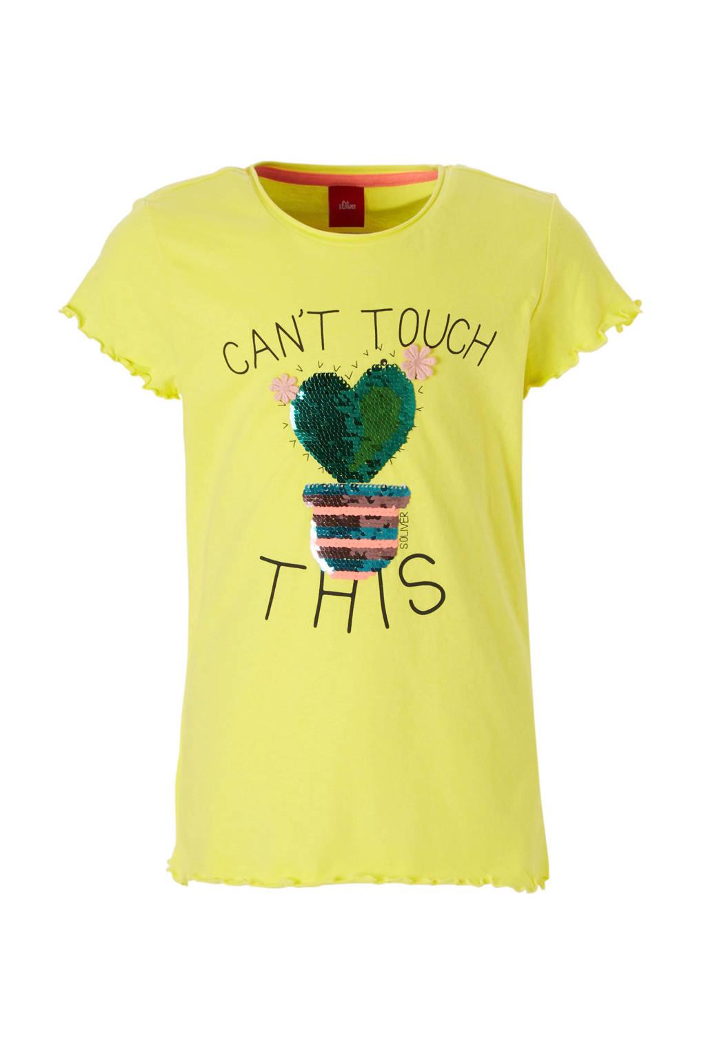 s.Oliver T-shirt met pailletten en tekst geel, Lichtgeel