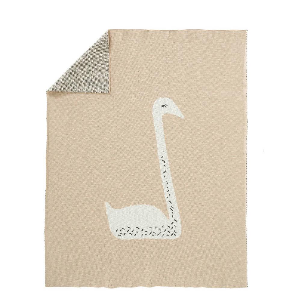 Fresk gebreide baby ledikantdeken 100x150 cm Swan zalmroze, Zalmroze