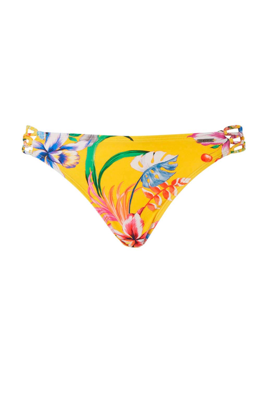 Shiwi bikinibroekje met bloemen print geel, Geel/roze/groen