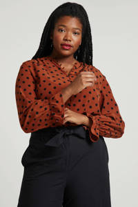 wehkamp blouse Plus size met stippen brique/zwart, Brique/zwart