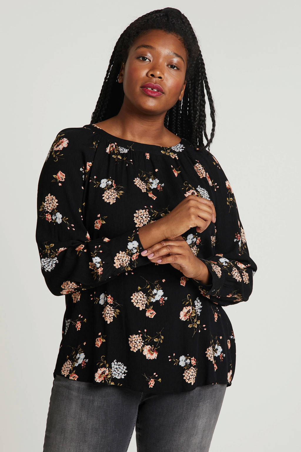 anytime plus size blouse-top met striksluiting, Zwart/zalm