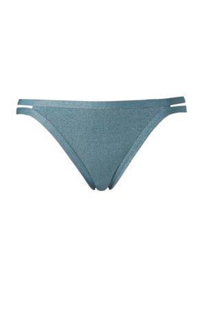 bikinibroekje met opengewerkt detail  grijs metallic