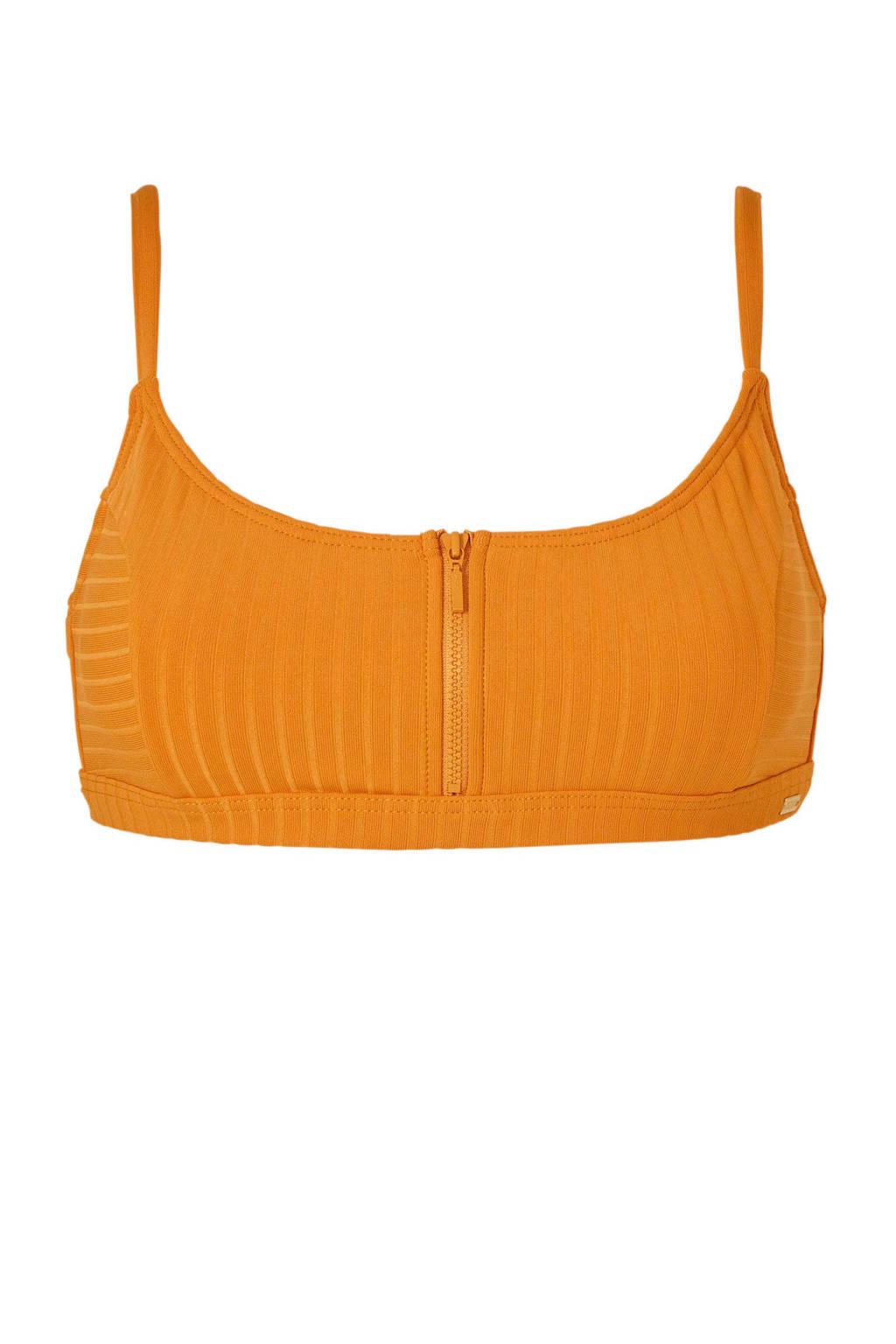 Roxy bikinitop met rits okergeel, Okergeel
