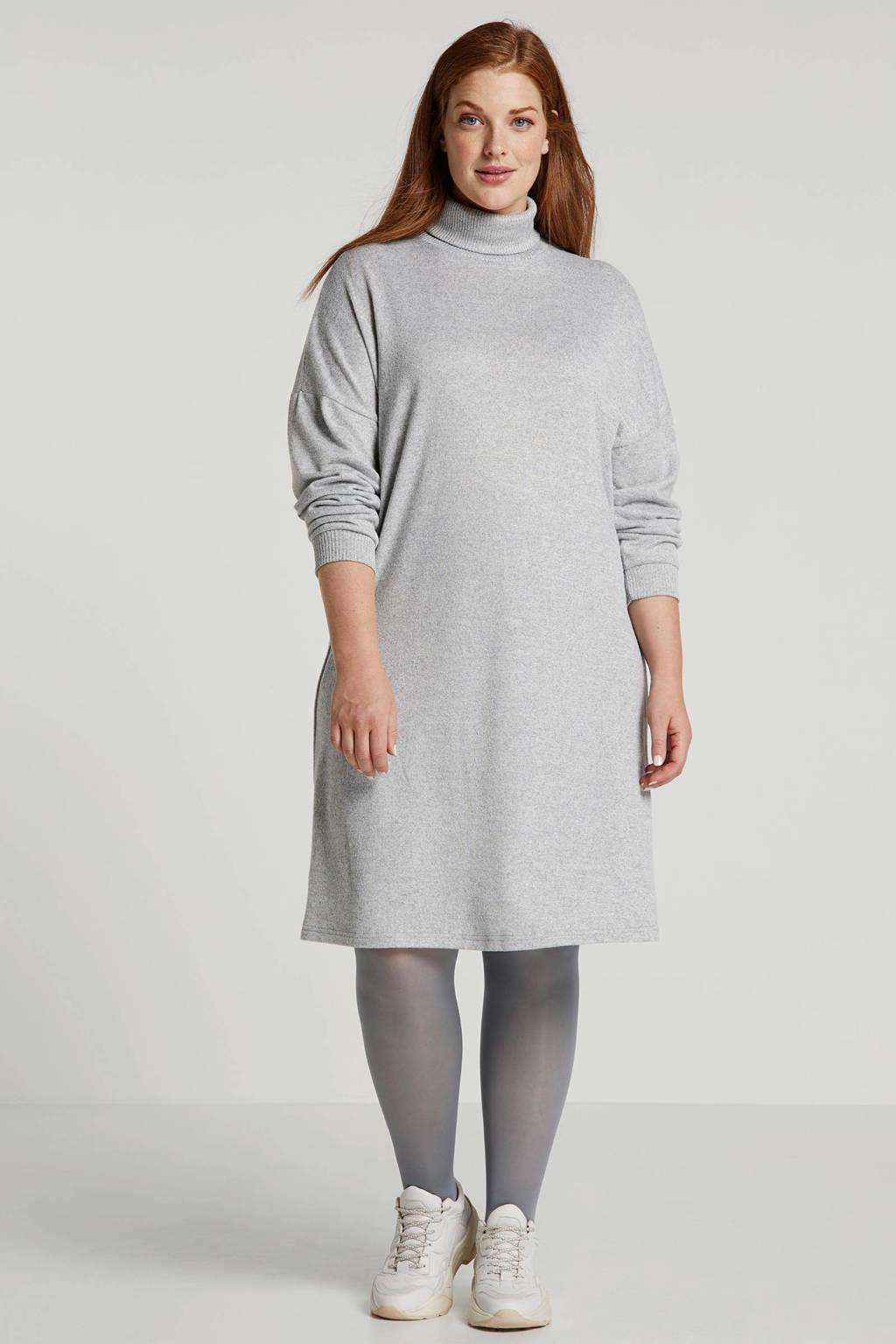 anytime Plus size T-shirt jurk in lichtgrijs melange, Lichtgrijs