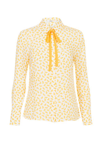 blouse met all over print en strikkraag