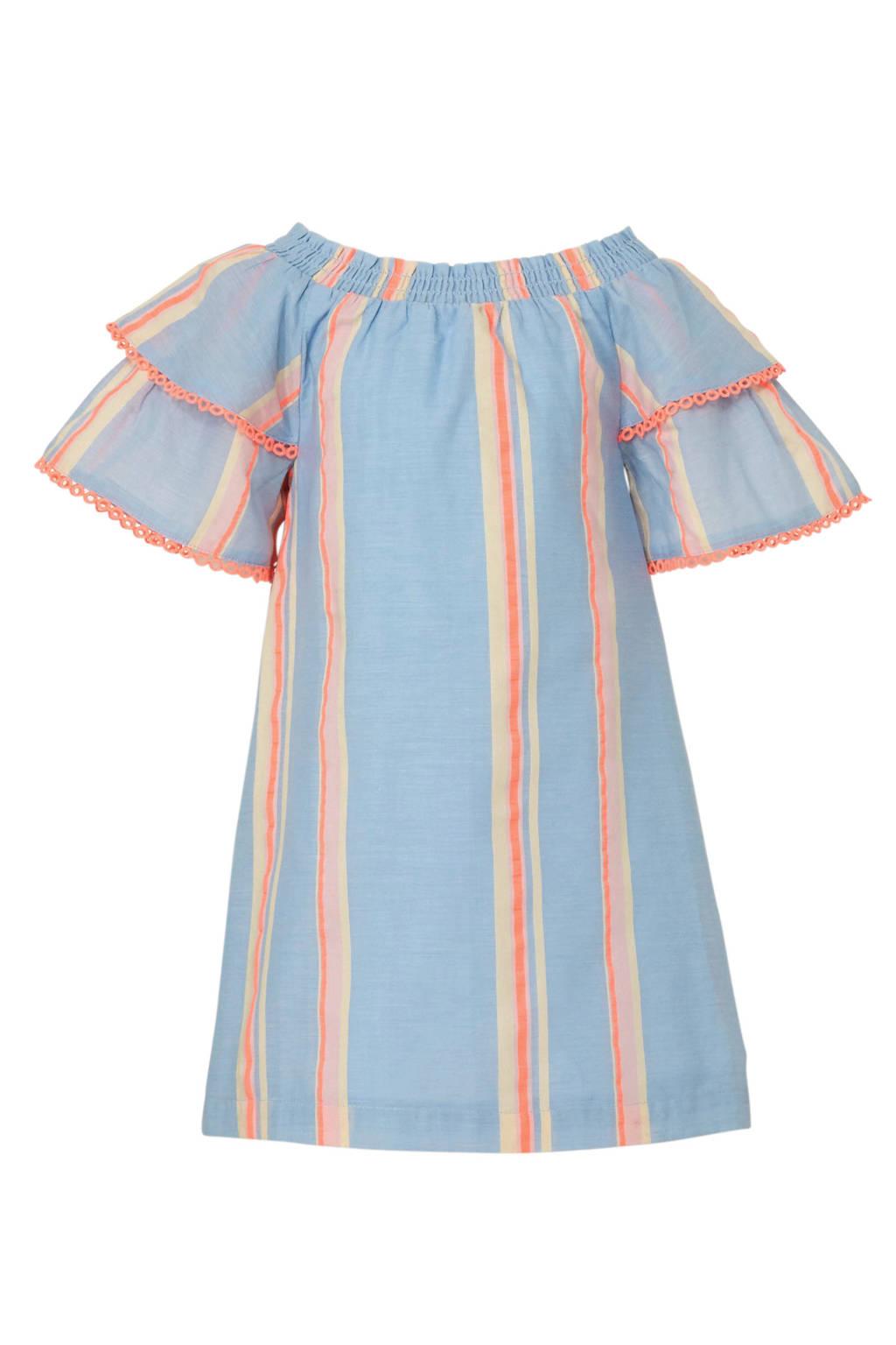River Island gestreepte jurk met off shoulder, Lichtblauw/roze/beige