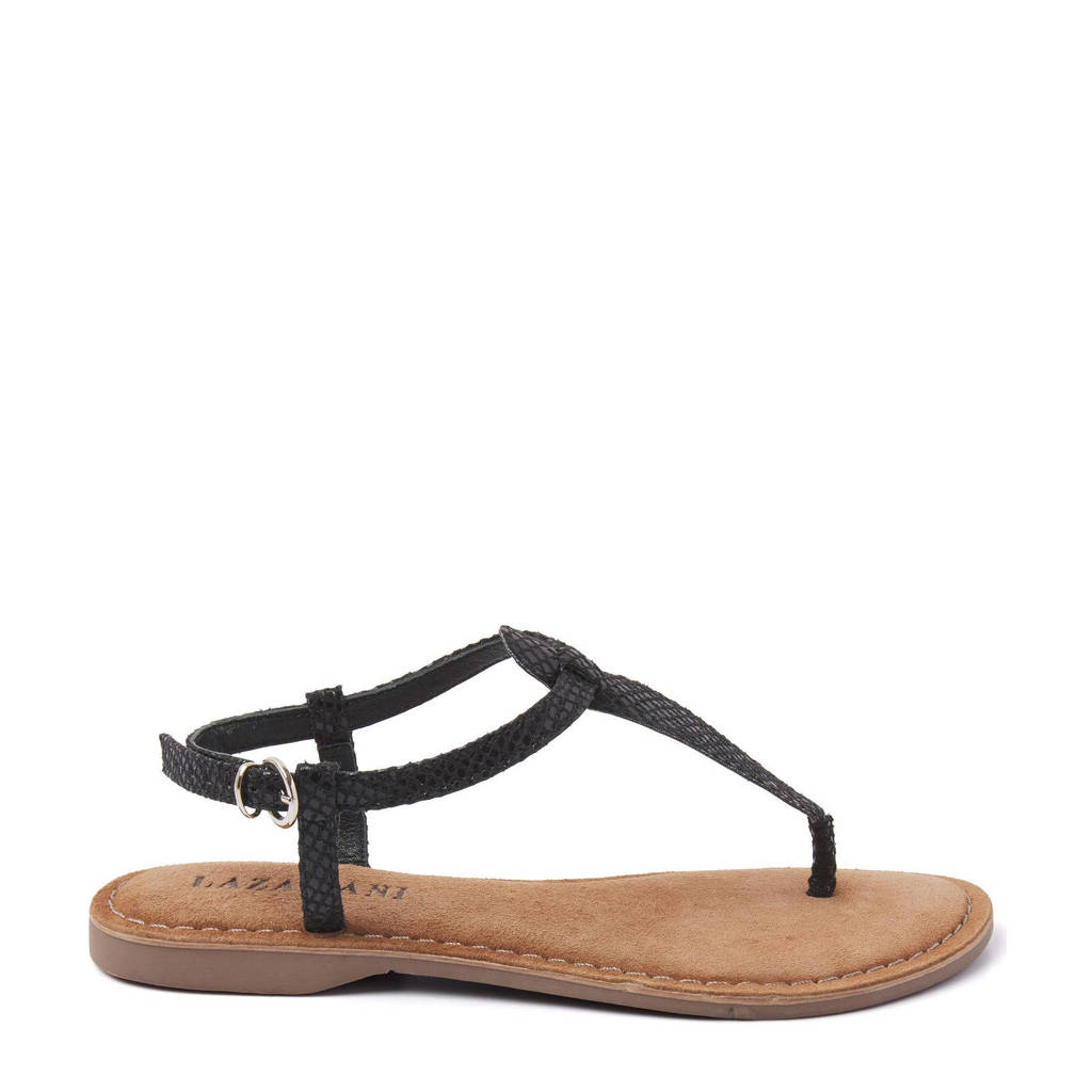 Lazamani leren sandalen met slangenprint, Zwart