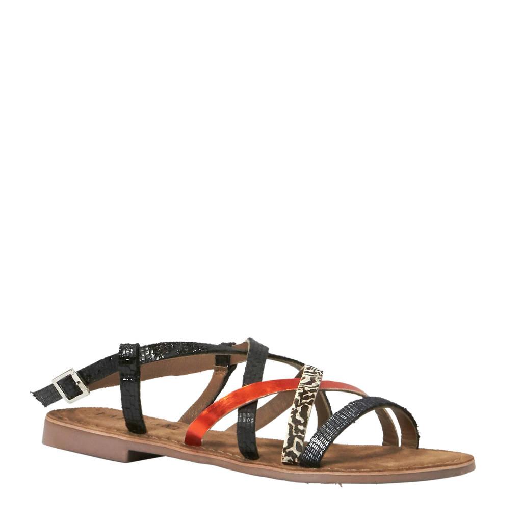 Lazamani leren sandalen met zebraprint, Zwart/rood/wit