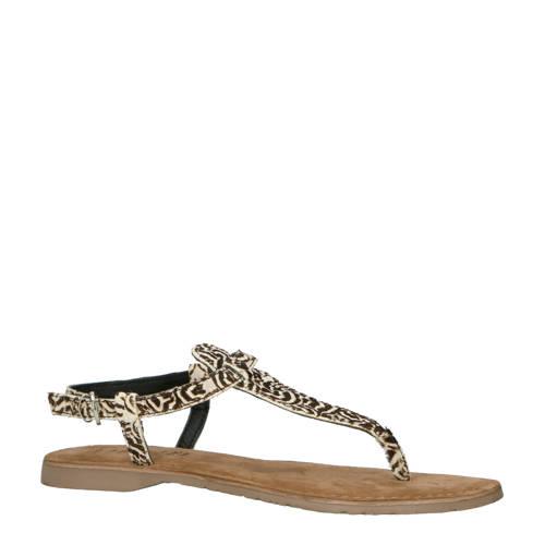 Lazamani leren sandalen met zebraprint kopen