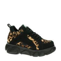 Buffalo Corin Vegan  chunky dad sneakers zwart/panterprint, Zwart/bruin