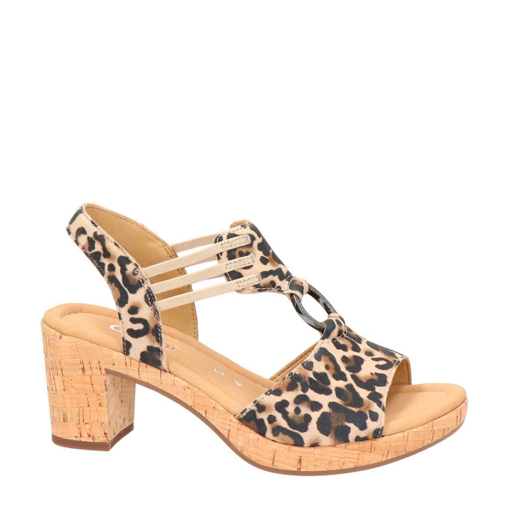 Gabor suède sandalettes met panterprint, beige multi