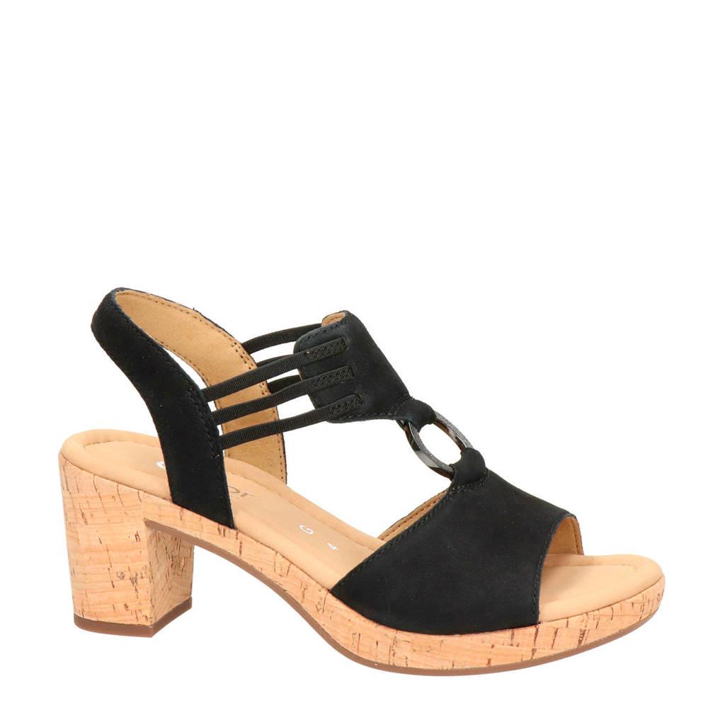 Gabor   suède sandalettes zwart, Zwart