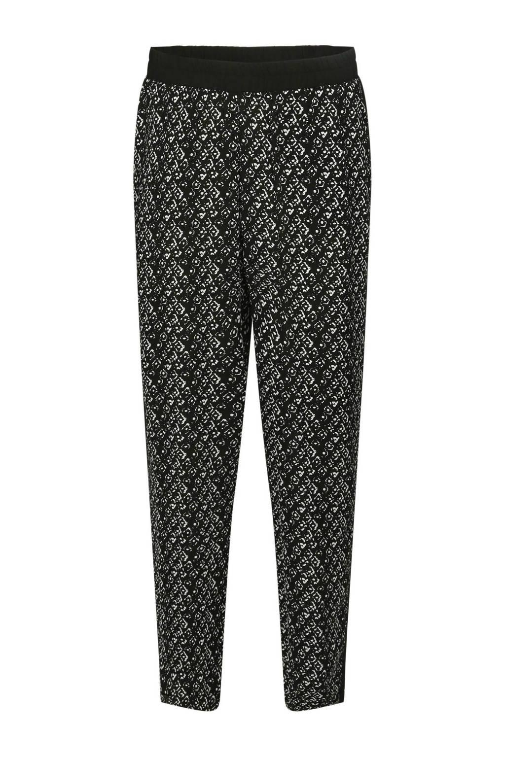 Cassis tapered fit broek met all over print zwart, Zwart