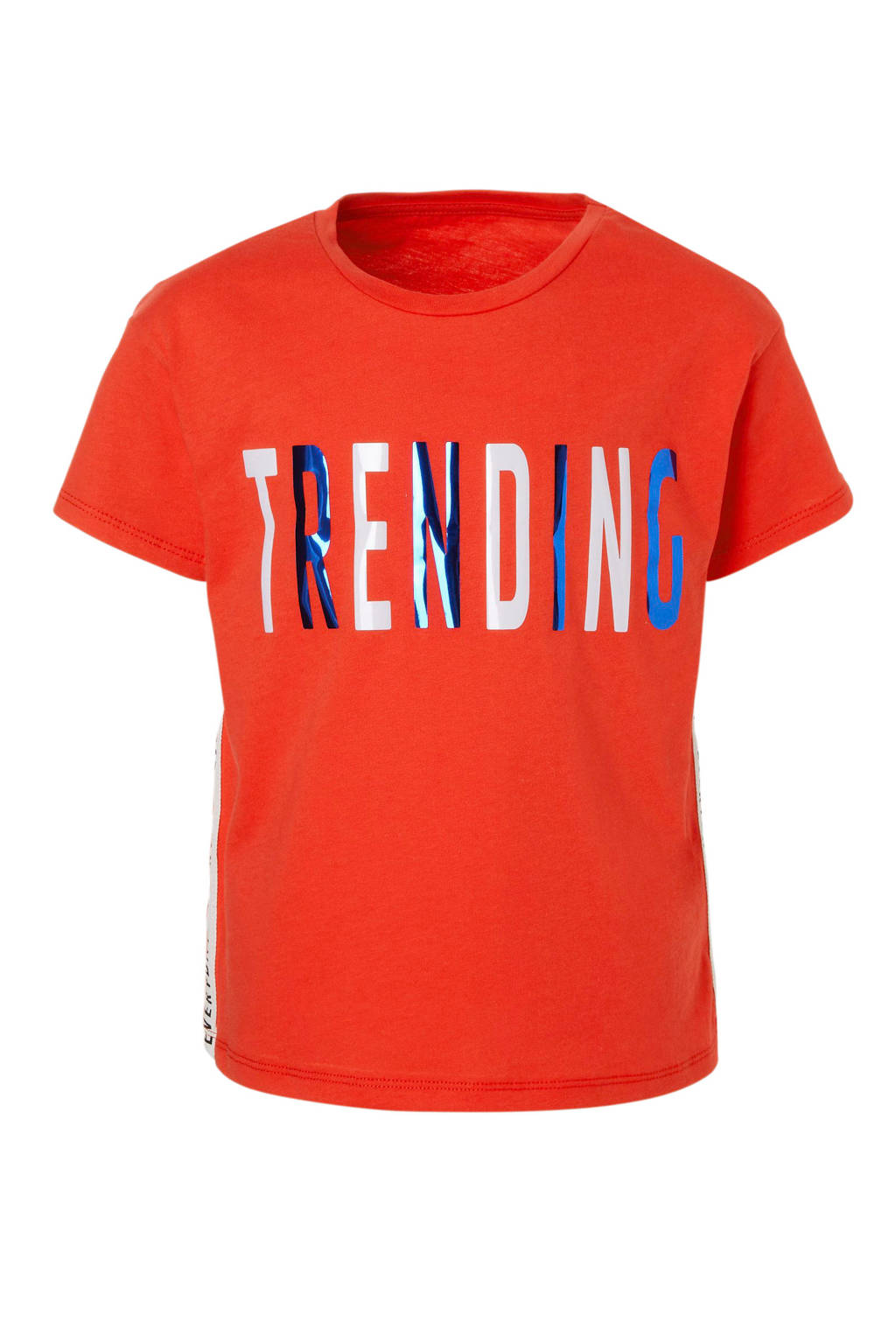 C&A Here & There kort T-shirt met glanzende tekst rood, Rood
