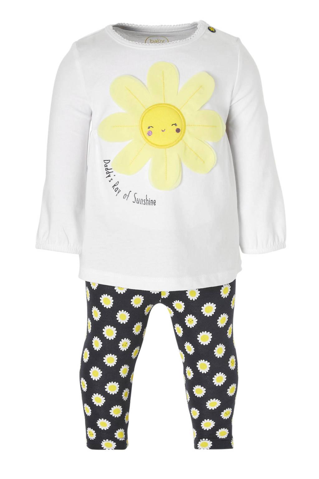 C&A Baby Club jurk met legging met print wit/donkerblauw, Wit/donkerblauw/geel