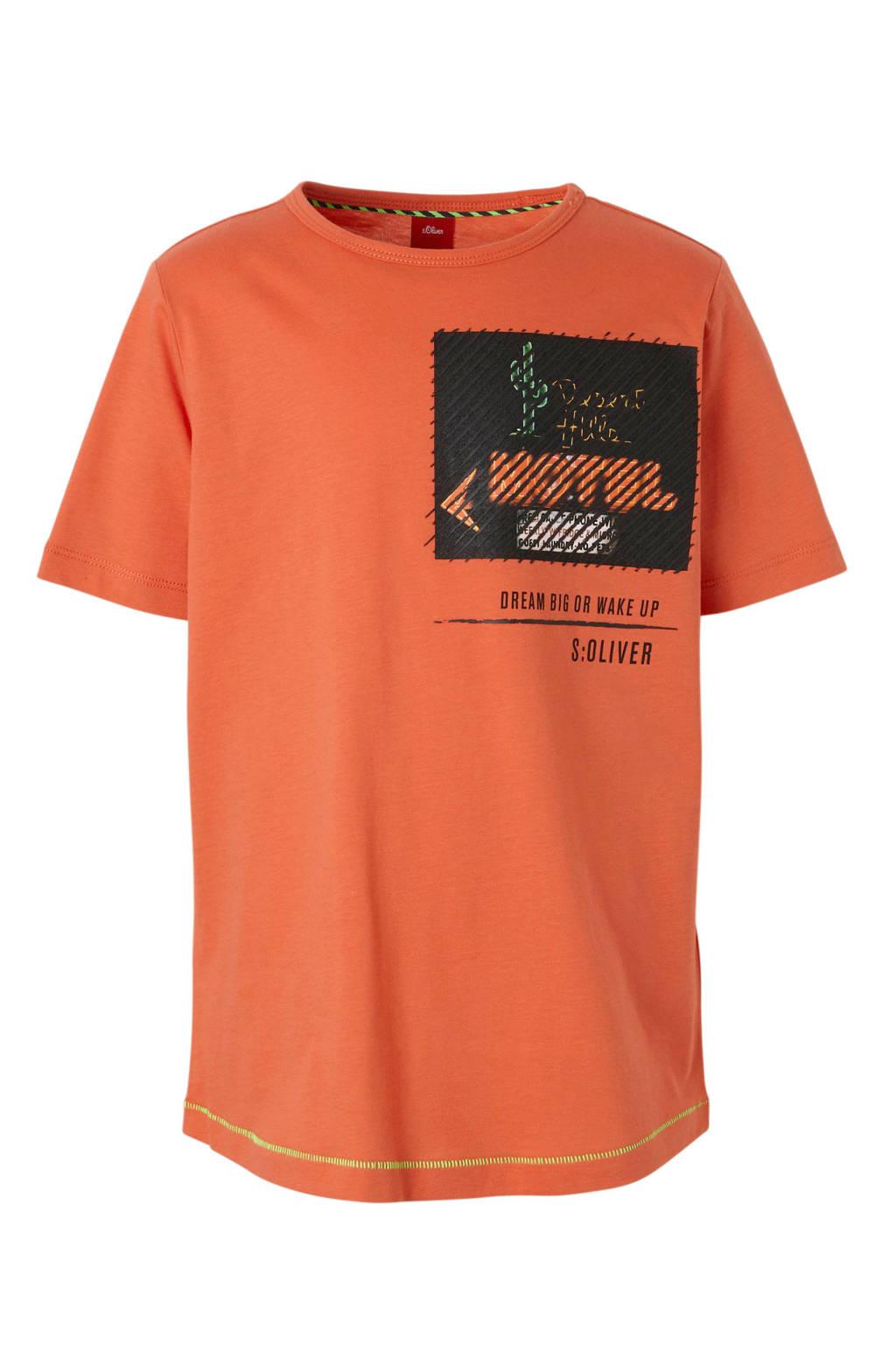 s.Oliver T-shirt met printopdruk rood, Rood