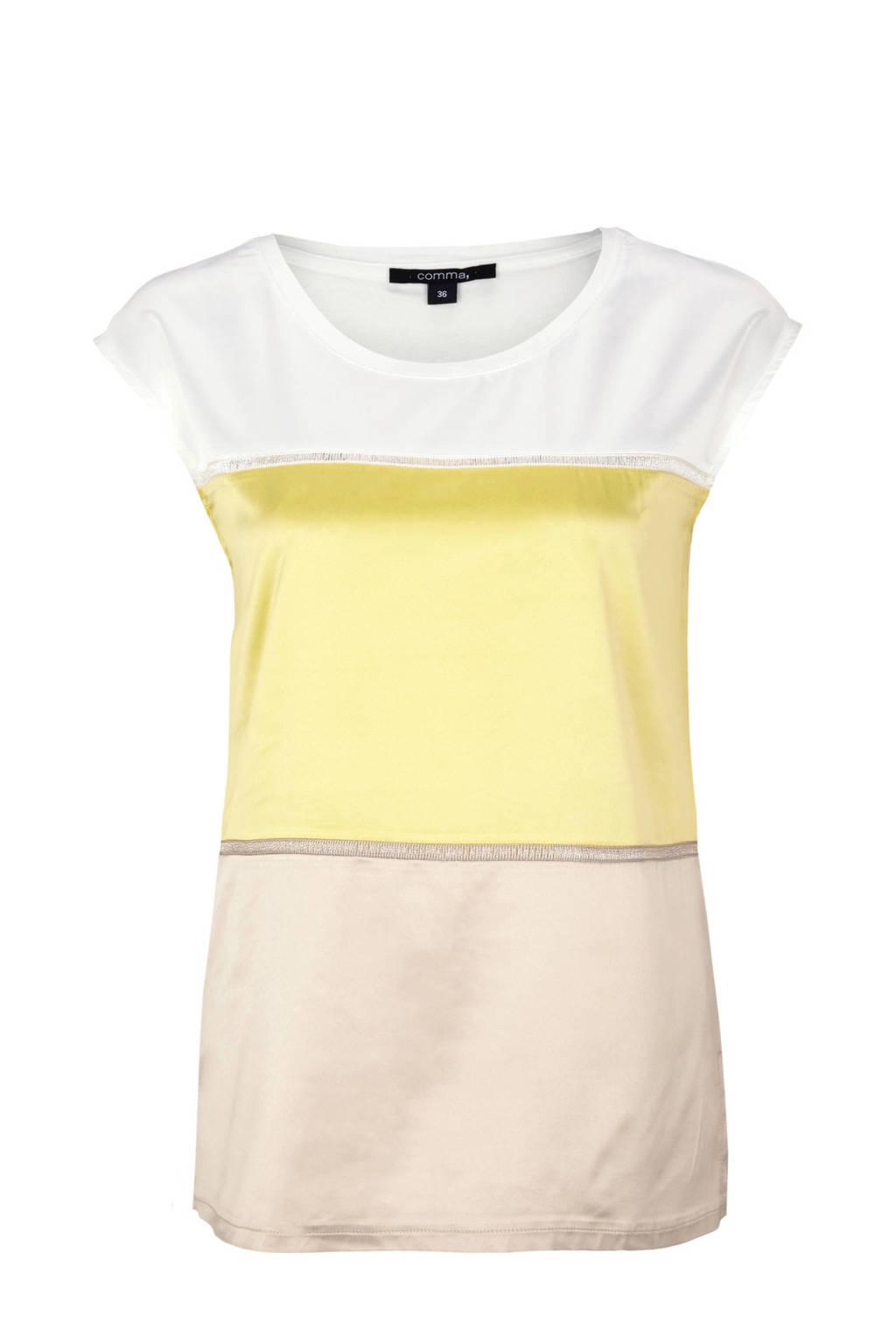 comma T-shirt 3-kleurig, wit/geel/bruin