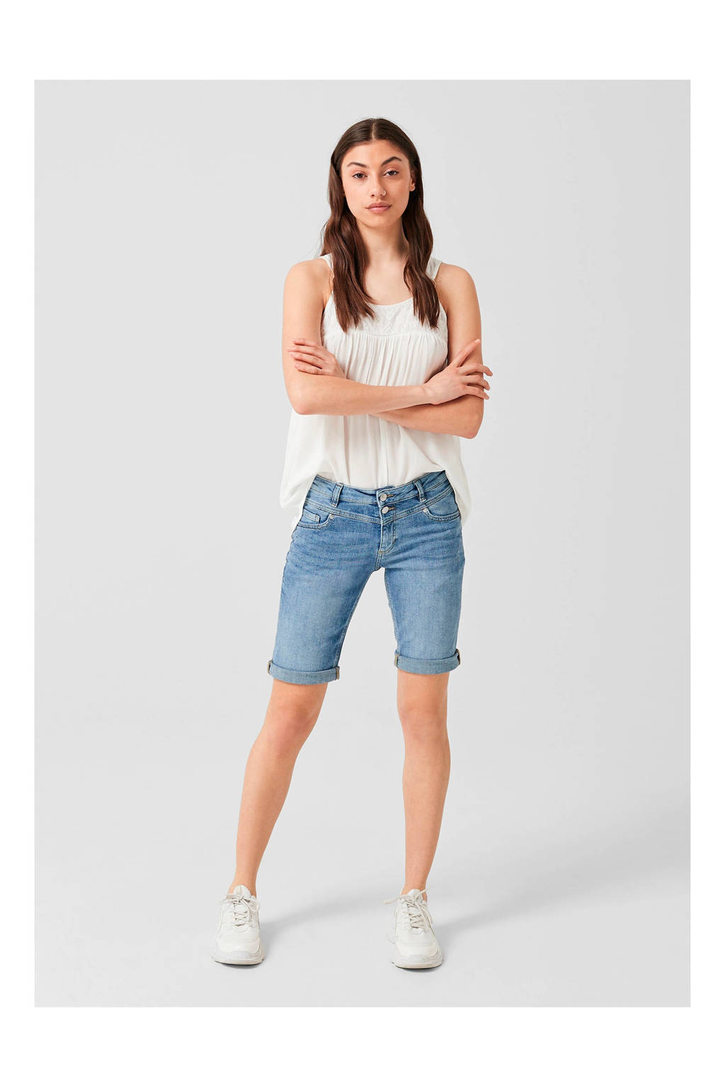 Q/S designed by straight fit jeans short, Stonewashed