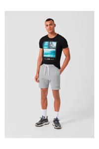 Q/S designed by gemêleerde regular fit sweatshort grijs, Grijs