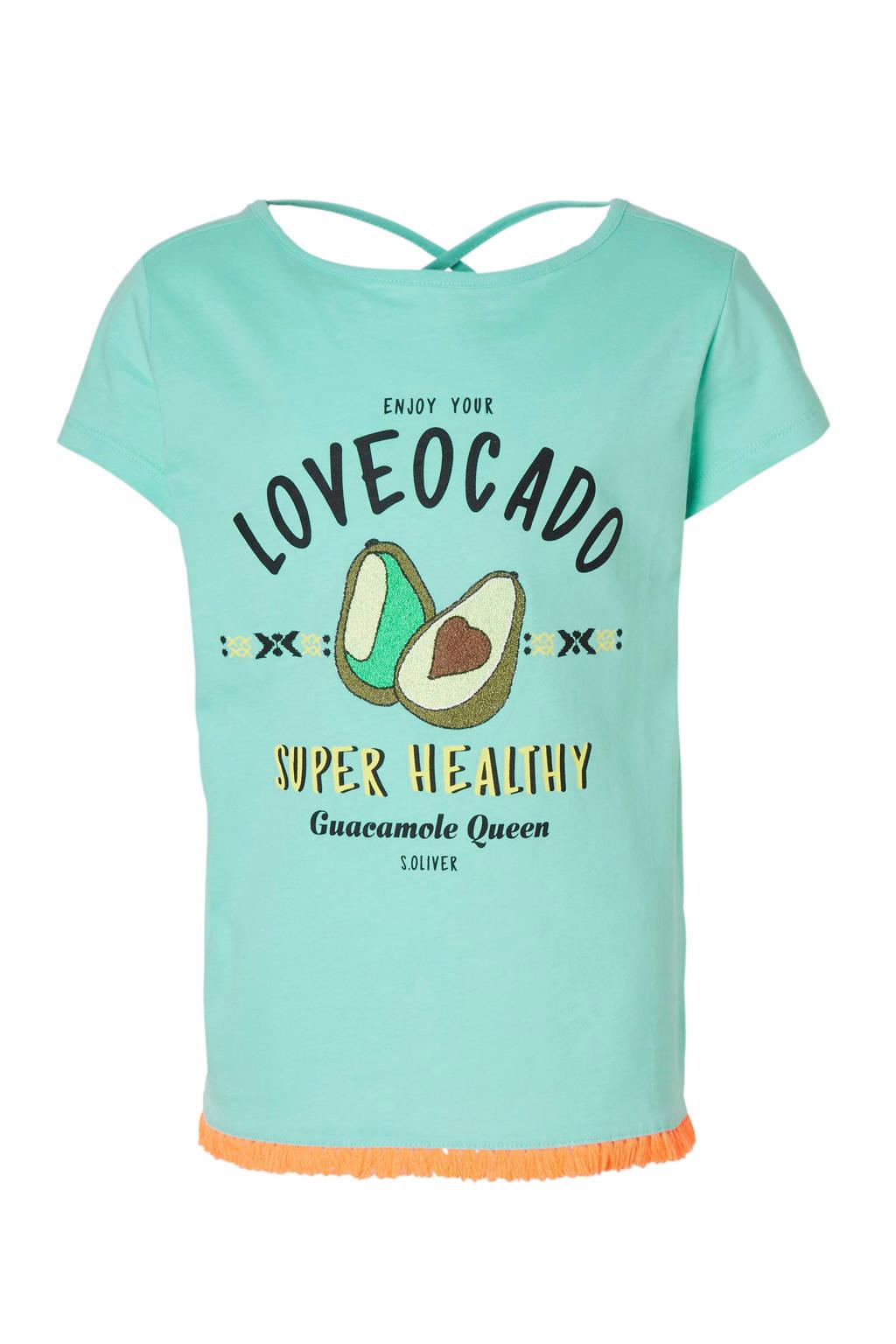 s.Oliver T-shirt met avocado's mint, Mintgroen