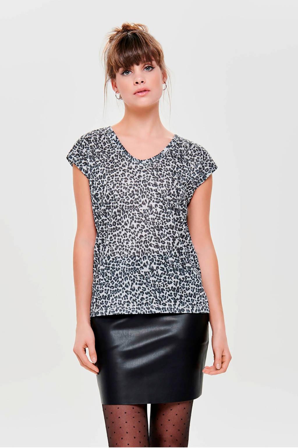 ONLY top met panterprint, Zwart/wit