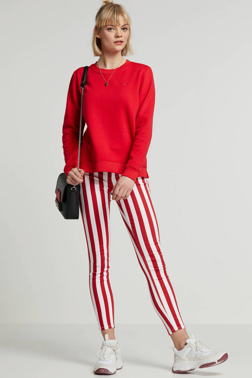 ONLY jeans met strepen, rood/ wit