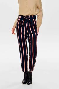 ONLY gestreepte high waist tapered fit broek donkerblauw, Donkerblauw