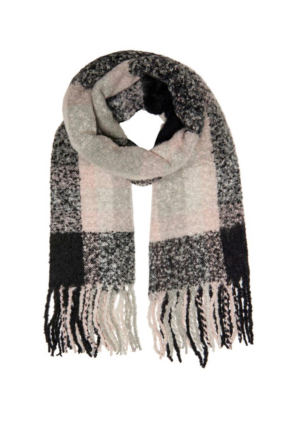 ONLY sjaal Janet roze, Zwart