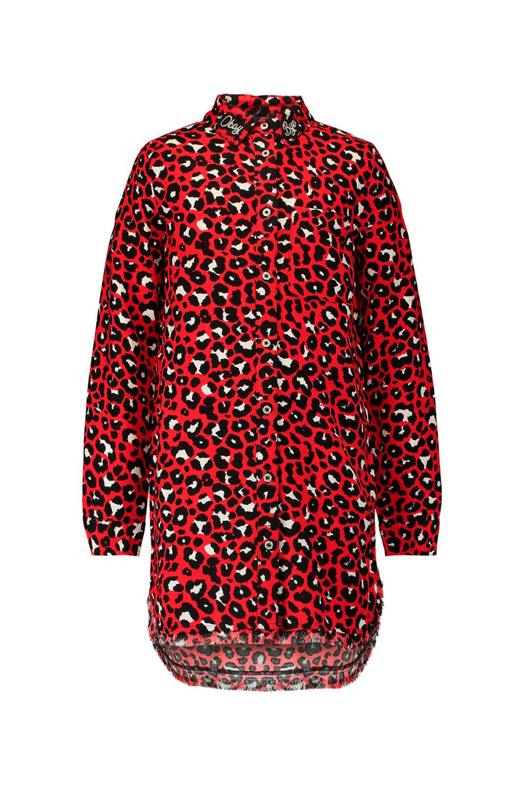 CoolCat blouse met all over panterprint rood, Rood
