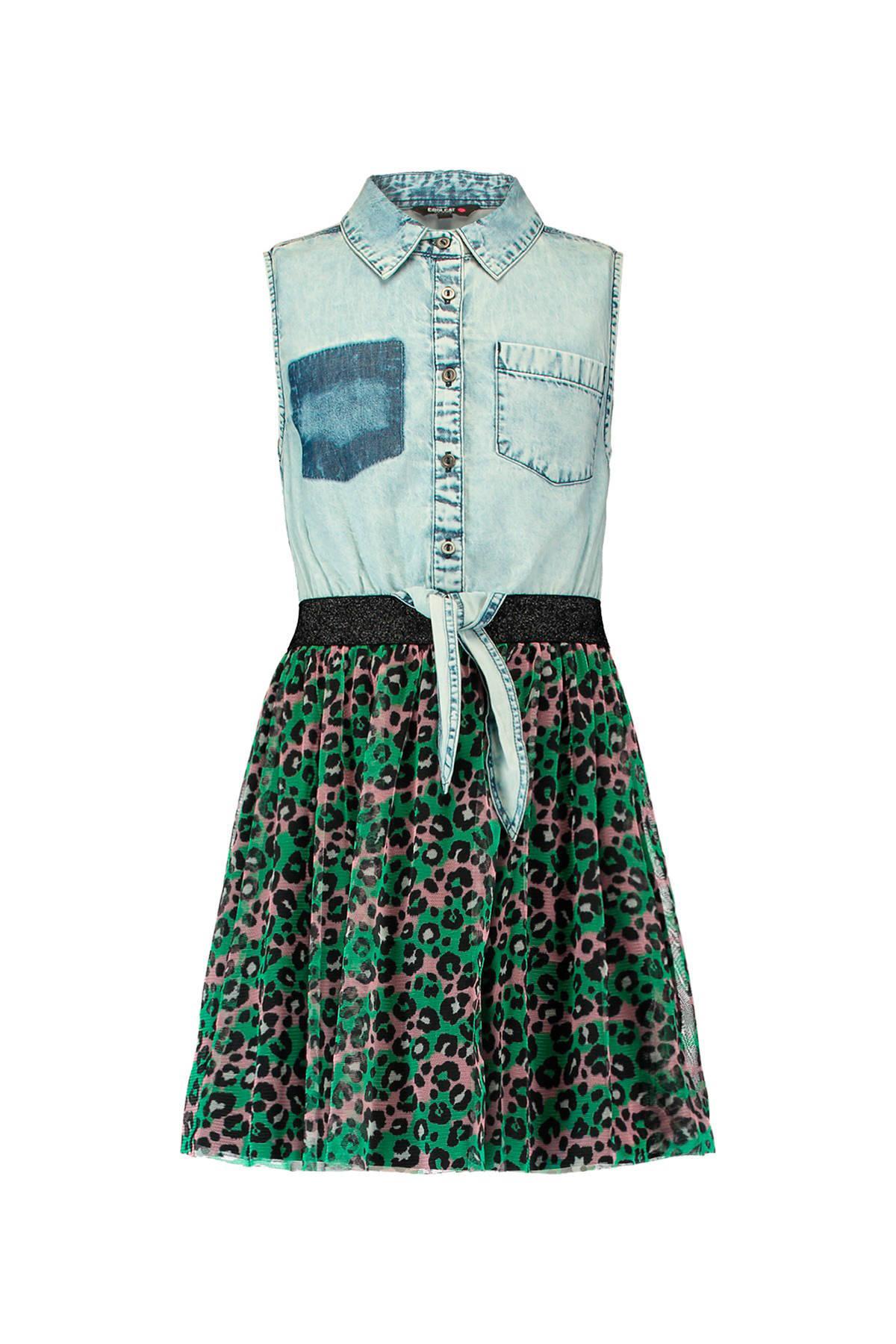 63c0288581ad78 CoolCat spijkerjurk met panterprint groen