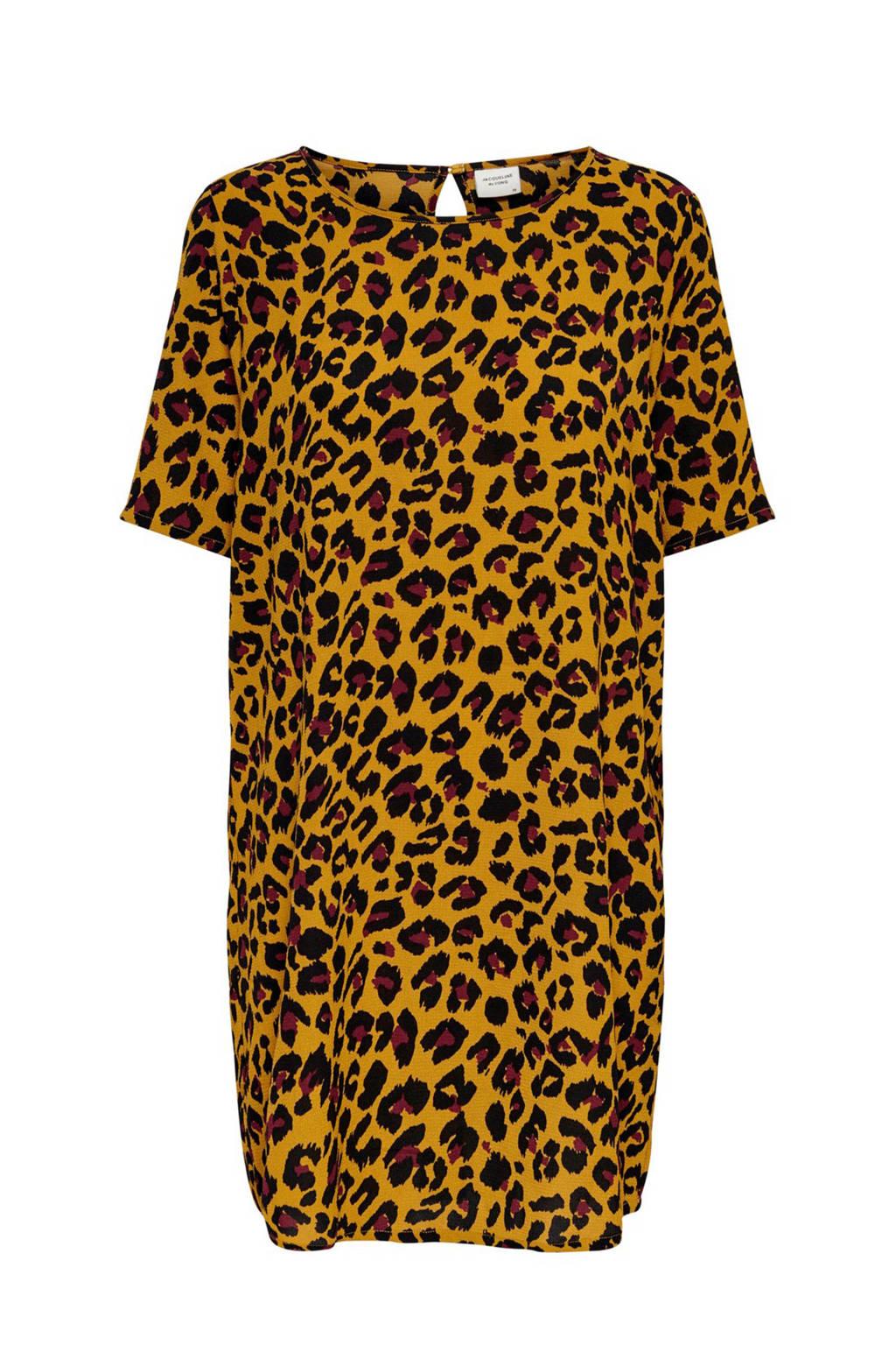 JACQUELINE DE YONG jurk met panterprint okergeel, Oker/zwart/rood