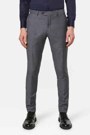 slim fit pantalon met wol en all over print grijs