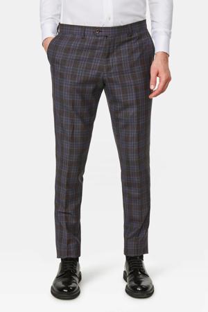 geruite slim fit pantalon met wol bruin