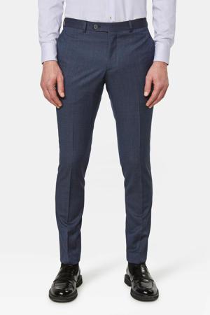 geruite slim fit pantalon met wol donkerblauw