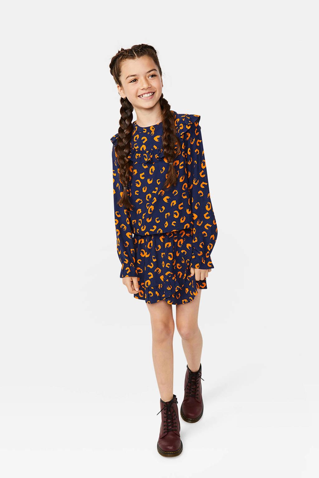 WE Fashion top met panterprint en ruches donkerblauw/oranje, Donkerblauw/oranje