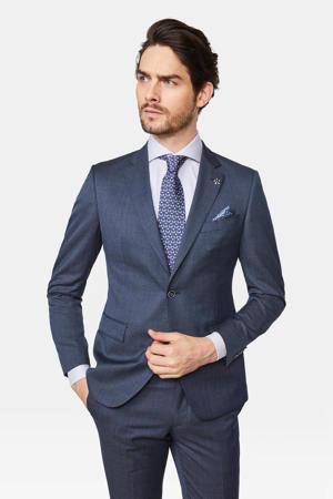slim fit colbert met wol en all over print donkerblauw