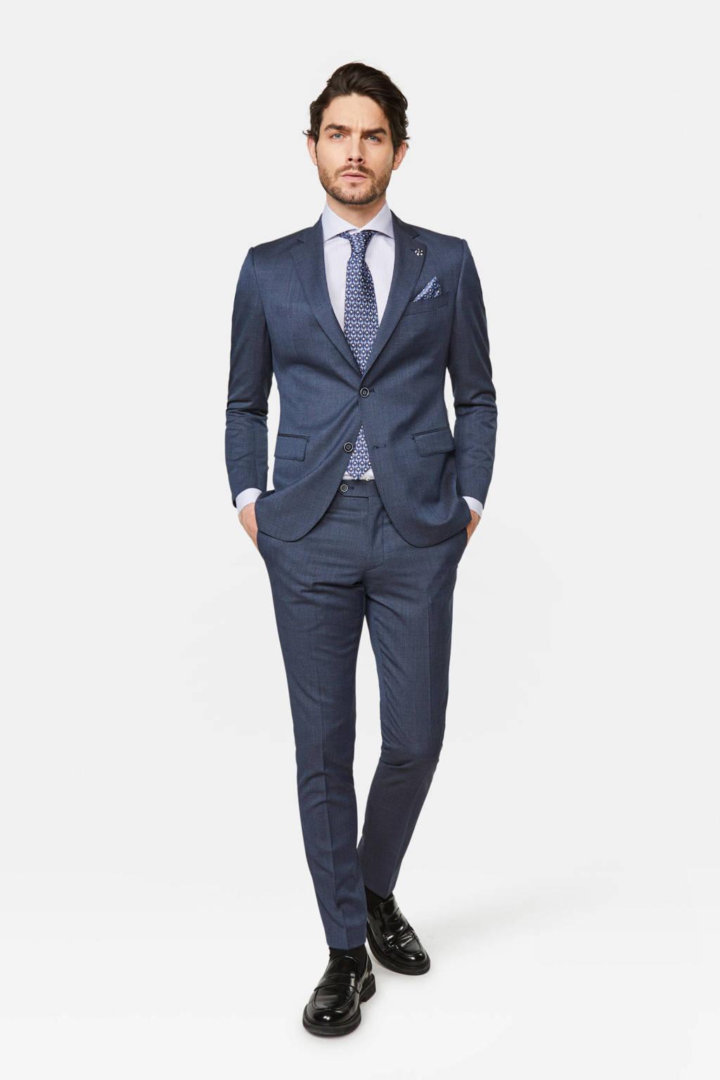 WE Fashion x Van Gils slim fit colbert met wol en all over print donkerblauw, Donkerblauw