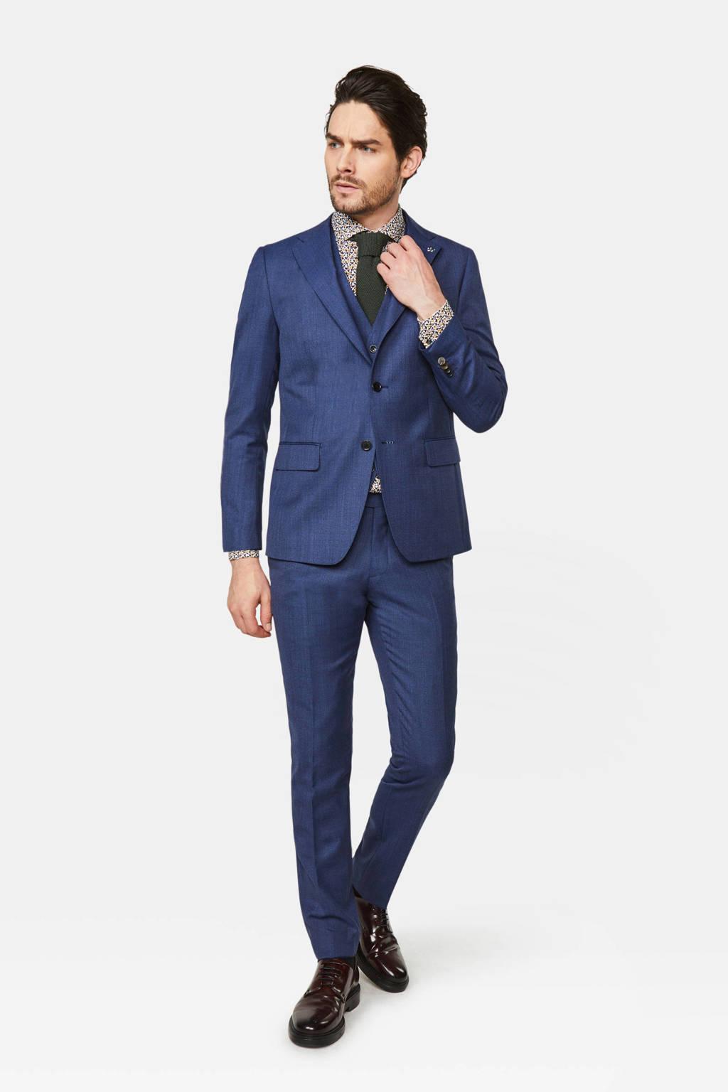 WE Fashion x Van Gils gemêleerd slim fit colbert met wol donkerblauw, Donkerblauw