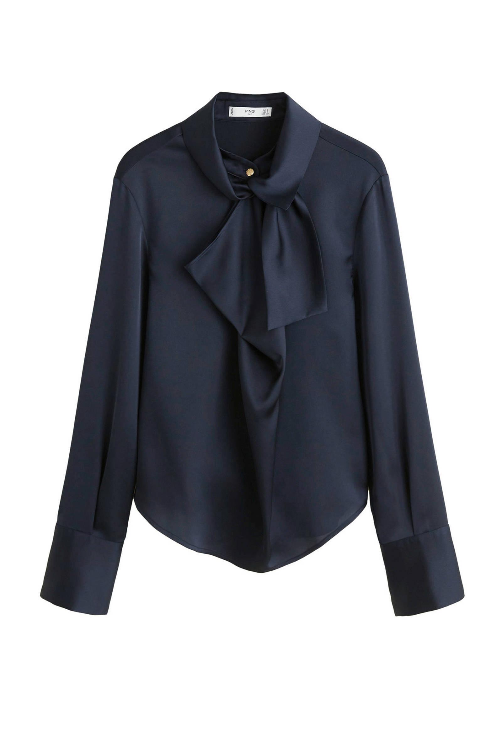 blouse strikkraag Mango satijnen marine met 4Tq4z7B