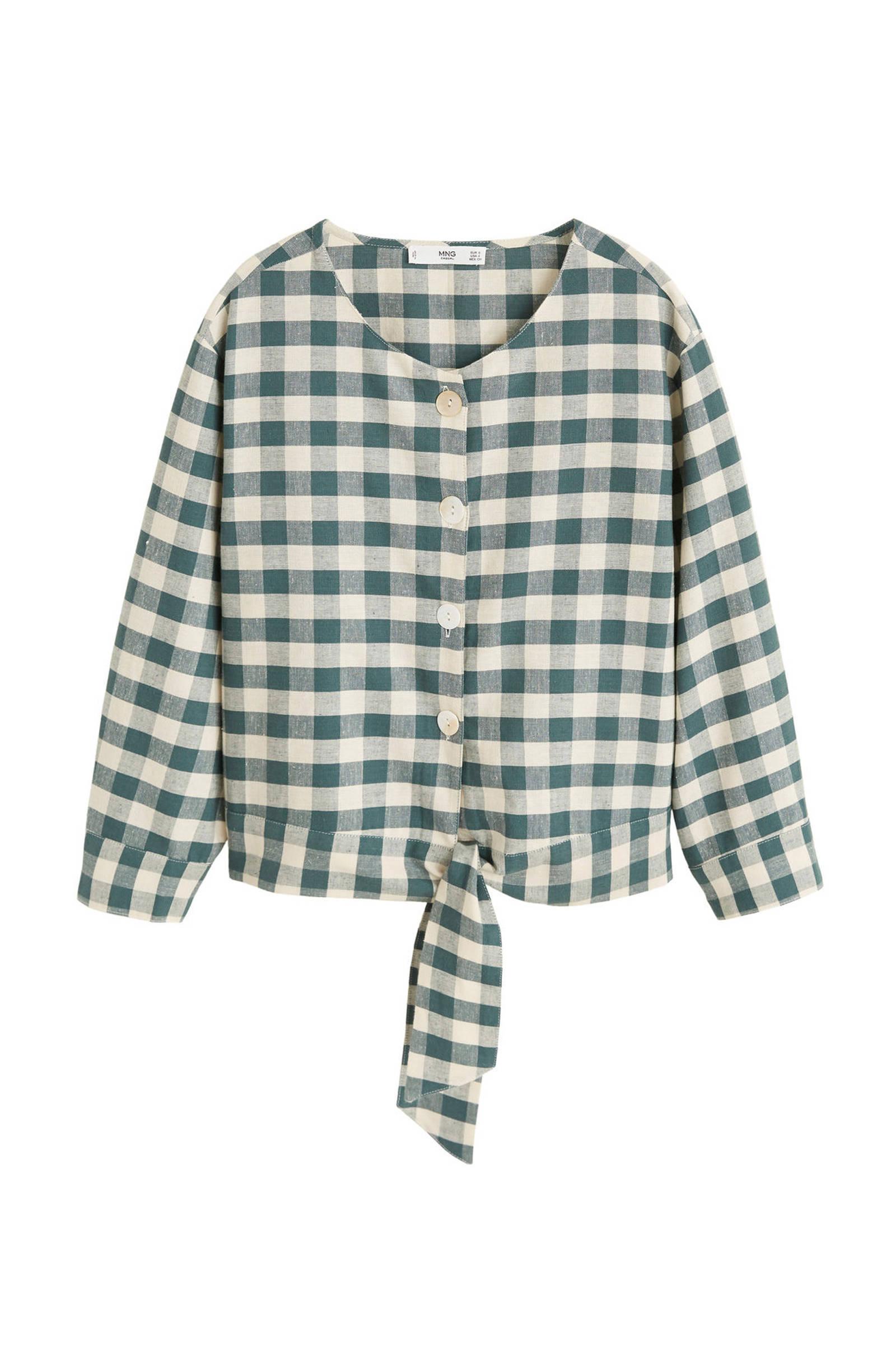 Mango blouse geruite met linnen groen HAT8gH